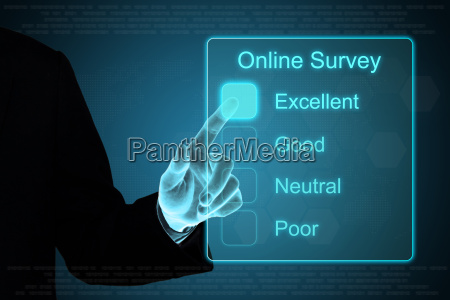 business hand clicking online survey on