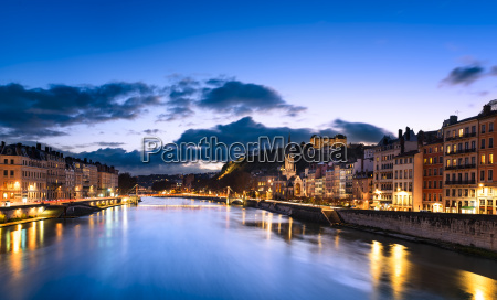 lyon city by night