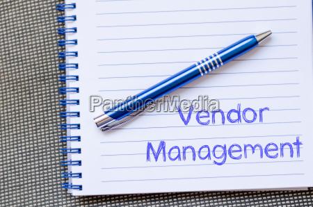 vendor management write on notebook