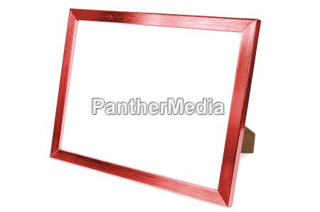 red aluminum photo frame on white