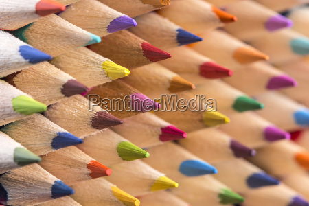 color pencils pile close up shot