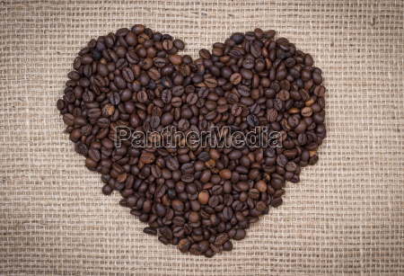 coffee beans shaping a heart