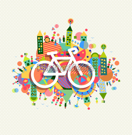 green environment bike icon vibrant colors