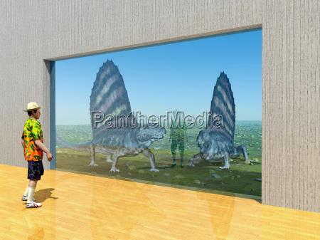 pelycosaurier dimetrodon im zoo