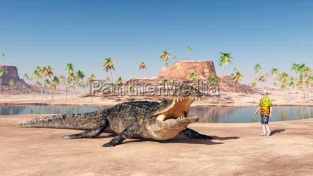 sarcosuchus und tourist