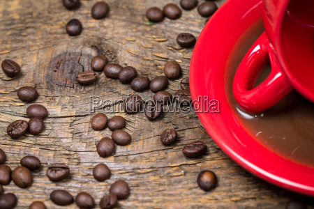 spilled coffee with coffee beans