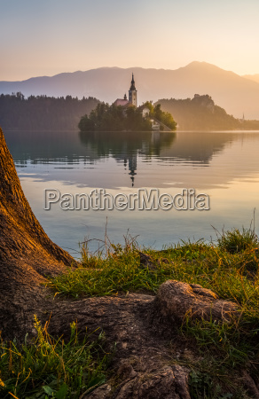 insel mit kirche in bled see