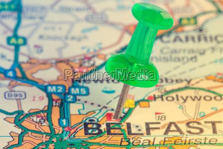 green pushpin showing belfast location