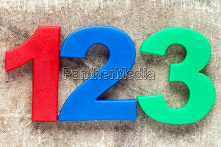 123 bunte kunststoffnummer