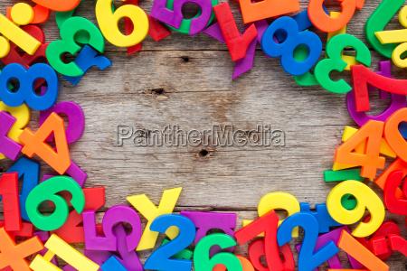 grenze, aus, bunten, spielzeugbuchstaben, und, zahlen - 15850559