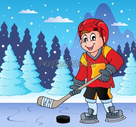 eishockeyspieler auf gefrorenem see