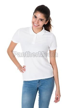 beautiful young woman wearing blank white