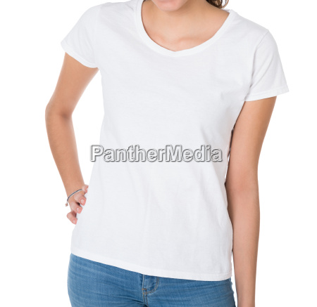 midsection of woman wearing blank white