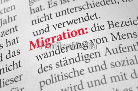 woerterbuch mit dem begriff migration