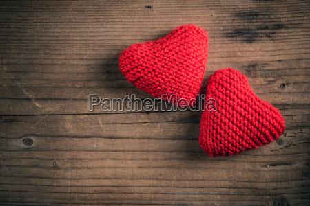 handmade knitted hearts