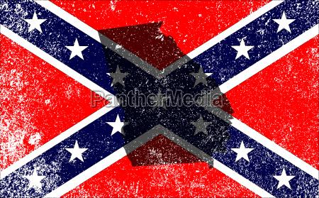 rebel buergerkrieg flagge mit georgien karte