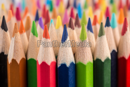close up of color pencil pile