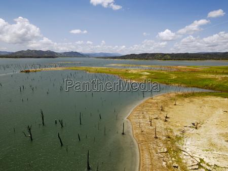 aerial view of gatun lake panama