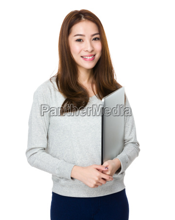 asian young woman hold with notebook
