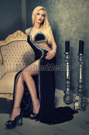 attractive blond woman in black evening