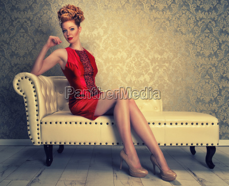 elegant red haired woman on the