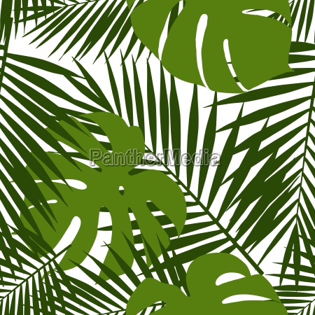 palm leaf and monstera silhouettes seamless