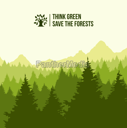 tree landscape think green concept illustration