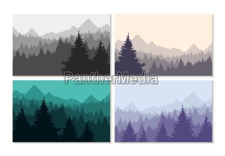 concept illustration winter forest landscape set
