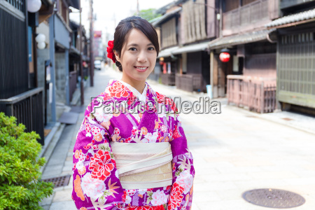 asian woman with japanese kimono at