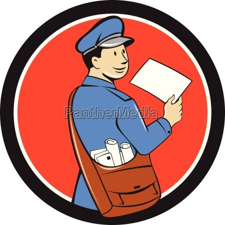 mailman liefern brief kreis cartoon
