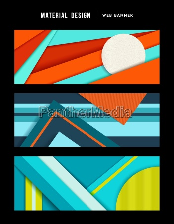 material design abstract web banner set