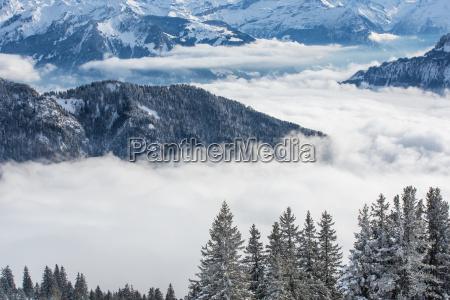 splendid winter alpine scenery with high