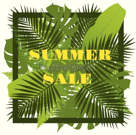 tropical leaves background summer sale concept