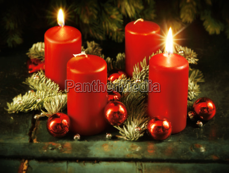 xmas advent wreath with two lighted