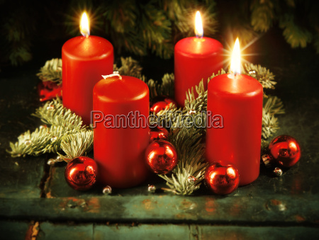xmas advent wreath with three lighted