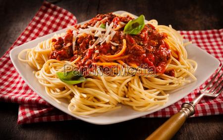 serving of traditional italian spaghetti bolognese