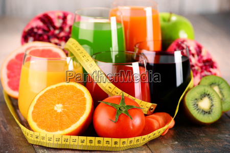 glasses of fresh organic vegetable and