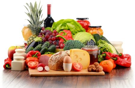 bio-lebensmittel, wie, gemüse, obst, brot, milch- - 15954825