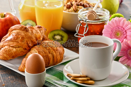 composition with breakfast on the table
