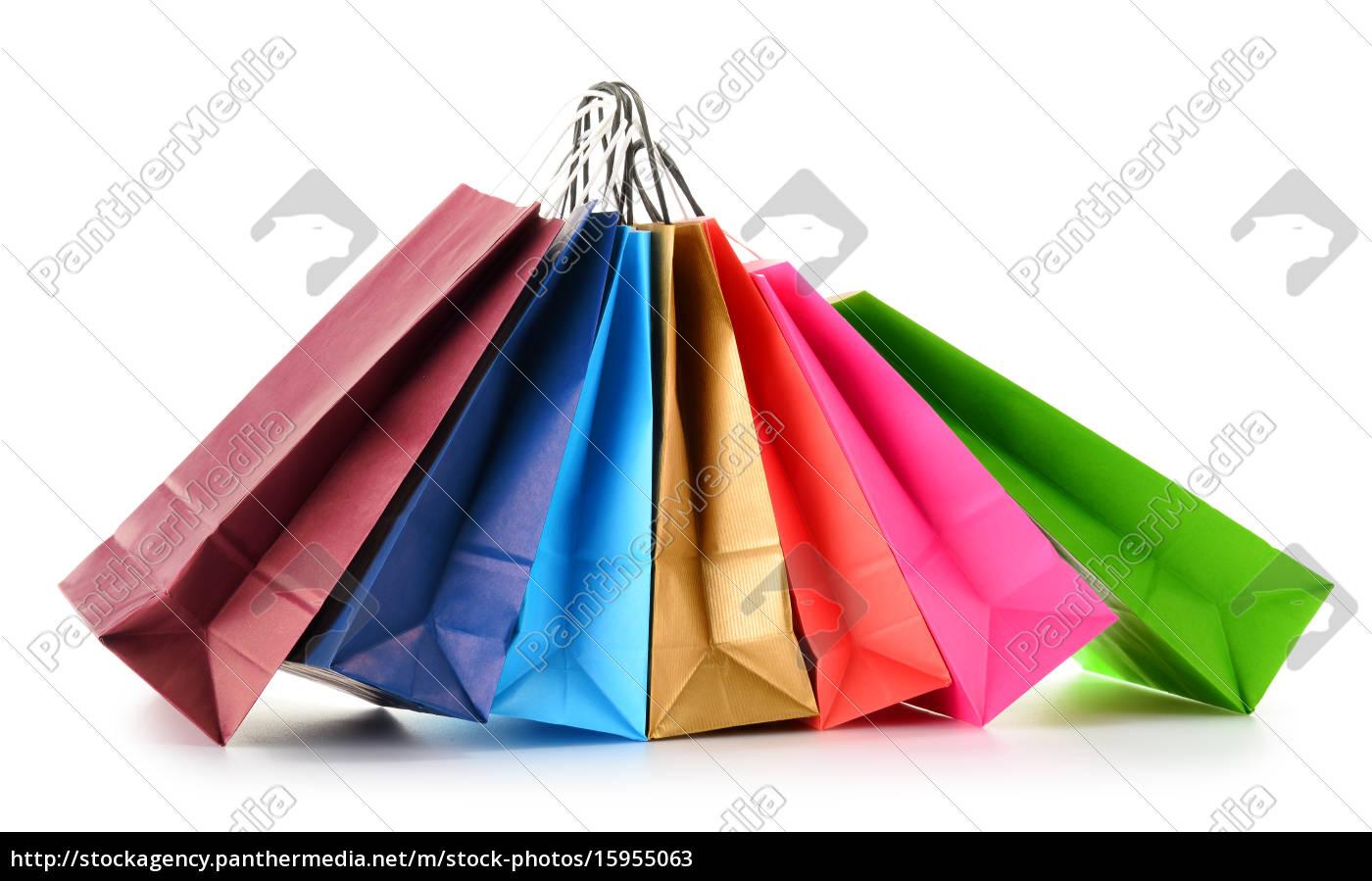 papier-einkaufstüten, isoliert, auf, weißem, hintergrund - 15955063