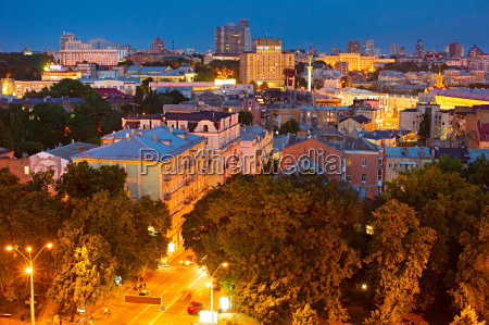 kiev skyline at dusk ukraine
