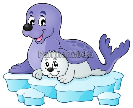 happy seal with pup theme 1