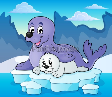 happy seal with pup theme 2