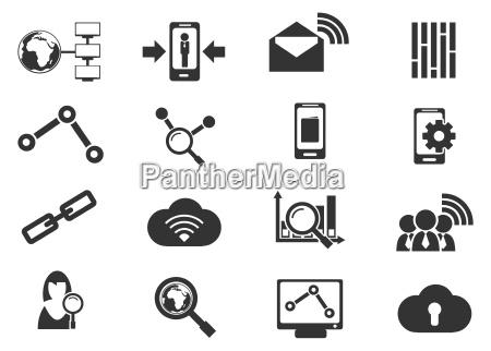 datenanalytische und soziale netzwerk icons