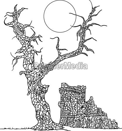 baum illustration kastell vektor veranschaulichung schloss