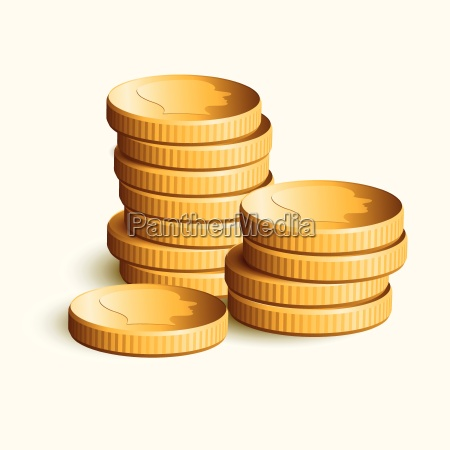 vector stacked golden coins vector illustration