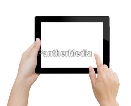 frau, hand, mit, mock-up, digitale, tablette - 15987877
