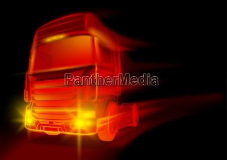 roter gluehender truck