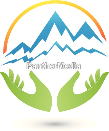 mountains and hands logo travel agency