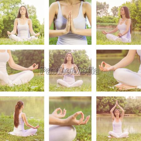 yoga frau meditieren entspannende gesunde lebensstil